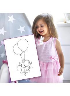 Ausmalbild Fuchs Füchschen mit Ballons Druck AU4