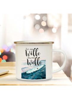 Emaille Becher Camping Tasse Meer & Surfer mit Spruch Motto Wo ein Wille da eine Welle Kaffeetasse Zitat Geschenk eb156