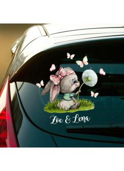Autotattoo bunt Heckscheiben Hase Häschen Pusteblume Auto Schmetterlinge Aufkleber Namensaufkleber Kinder Mädchen 2 Namen Wunschnamen baa1
