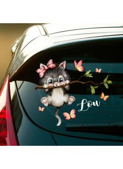 Autotattoo bunt Heckscheiben Katze Kätzchen auf Zweig Auto Schmetterlinge Aufkleber Namensaufkleber Kinder Mädcdhen Name Wunschname baa2