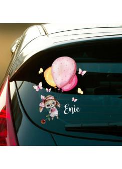 Autotattoo bunt Heckscheiben Hase Häschen mit Luftballons Auto Schmetterlinge Aufkleber Namensaufkleber Kinder Mädchen Name Wunschname baa3
