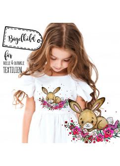 Bügelbilder Hase Häschen & Punkte Applikation Bügelbild Bügelmotiv Aufbügelbilder für Mädchen bb107