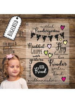 Bügelbilder Kindergarten Set Kita-Kind Applikation Kita Bügelbild Bügelmotiv Aufbügelbilder bb118