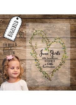 Bügelbild mit Herz und Spruch June Girls Applikation Bügelbild Bügelmotiv Aufbügelbilder bb121