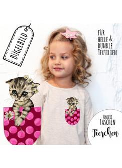 Bügelbilder Applikation Katze Bügelbild Kätzchen in Taschen Bügelmotiv Taschentierchen Aufbügelbilder bb133