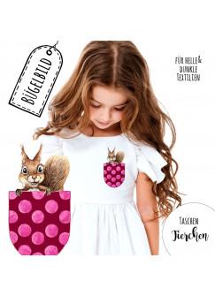 Bügelbilder Applikation Eichhörnchen Bügelbild Tasche rosa punkte Bügelmotiv Taschentierchen Aufbügelbilder bb135