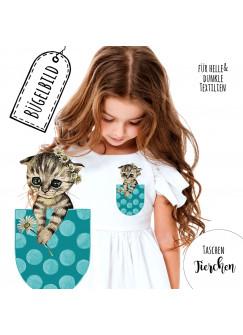 Bügelbilder Applikation Katze Bügelbild türkise Tasche punkte Bügelmotiv Taschentierchen Aufbügelbilder bb139