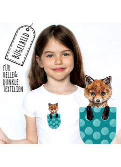 Bügelbilder Applikation Fuchs Bügelbild türkise Tasche punkte Bügelmotiv Taschentierchen Aufbügelbilder bb140
