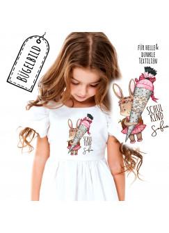 Bügelbilder zum Schulanfang Häschen mit Schultüte & Wunschname Schulkind Applikation Kissen Shirt Taschen Bügelbild Patch in A5 bb181
