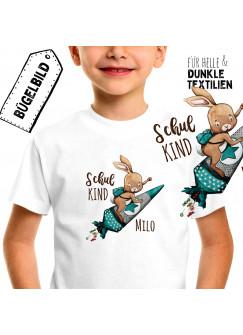 Bügelbilder zum Schulstart Hase auf Raketenschultüte & Wunschname Schulkind Applikation Kissen Shirt Taschen Bügelbild Patch in A5 bb182