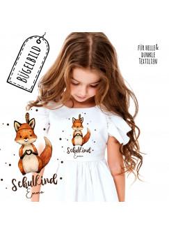 Bügelbilder zum Schulbeginn Fuchs mit Herz & Wunschname Schulkind Applikation Kissen Shirt Taschen Bügelbild Patch in A5 bb184