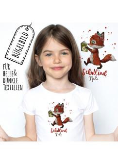 Bügelbilder zur Einschulung Fuchs mit Buch & Wunschname Schulkind Applikation Kissen Shirt Taschen Bügelbild Patch in A5 bb185