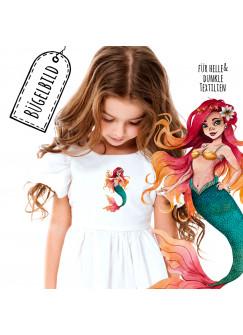 Bügelbilder Applikation mit Meerjungfrau rot Bügelbild Patch Bügelmotiv Aufbügelbilder Kissen Shirt Taschen bb189