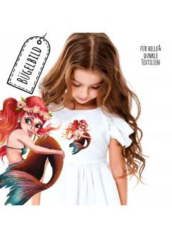 Bügelbilder Applikation kleine Meerjungfrau rot Bügelbild Patch Bügelmotiv Aufbügelbilder Kissen Shirt Taschen bb190