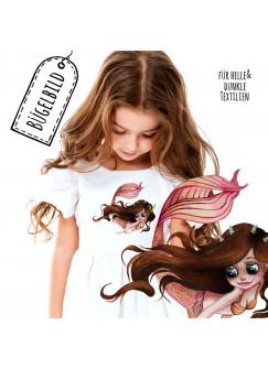 Bügelbilder Applikation mit Meerjungfrau braun Bügelbild Patch Bügelmotiv Aufbügelbilder Kissen Shirt Taschen bb192
