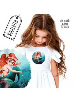 Bügelbilder Applikation mit Meerjungschfrau Unterwasser rund Bügelbild Patch Bügelmotiv Aufbügelbilder Kissen Shirt Taschen bb194