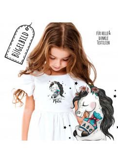 Bügelbilder zur Einschulung Pferdchen mit Schultüte Sterne & Name Schulkind Applikation Shirt Taschen Bügelbild Patch in A5 bb196