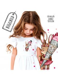 Bügelbilder zum Schulanfang Häschen mit Schultüte Punkte Applikation Kissen Shirt Taschen Bügelbild Patch in A5 bb197
