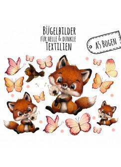 Bügelbilder Fuchs Füchslein Pusteblume Schmetterlinge Set in A5 Applikation Kissen Shirt Taschen Bügelbild Bügelmotiv Patch Aufbügelbilder bb208