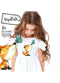 Bügelbild Mädchen mit Fuchs Bügelbilder Applikation Fuchs und Schmetterling mit Punkte bb034