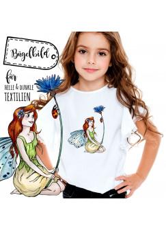 Bügelbild Mädchen mit Elfe Fee und Mohnblume Bügelbilder Applikation bb037