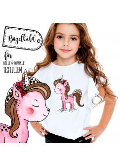 Bügelbild mit Einhorn Bügelbilder Mädchen rosa Applikation Einhornpatch bb042