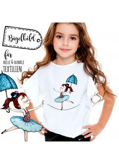 Bügelbild mit Tänzerin Ballerina Bügelbilder Mädchen Applikation Ballerinapatch bb043