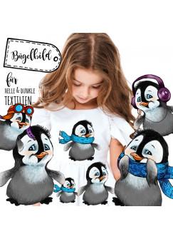 Bügelbilder Set Pinguine & Sterne Applikation Bügelbild Pinguin Bügelmotiv Aufbügelbilder Kinder bb053