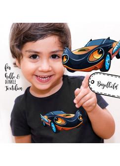 Bügelbilder Applikation Rennauto Auto blau Bügelbild Bügelmotiv Fahrzeug Aufbügelbilder für Jungs bb057