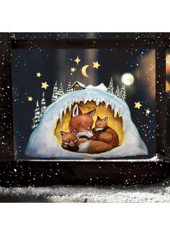 Fensterbild Weihnachtsdeko Weihnachten Fuchs Fuchshöhle -wiederverwendbar- Fensterdeko Winter Fensterbilder Kinder bf110