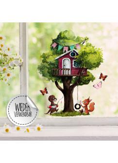 Fensterbild Baum Baumhaus Otter Eichhörnchen Schmetterlinge -wiederverwendbar- Fensterdeko Fensterbilder Frühling Deko Dekoration bf116