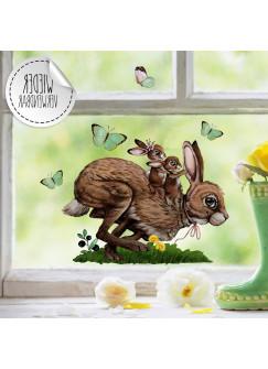 Fensterbild Hoppelhase Hase Kinder auf Rücken Schmetterlinge wiederverwendbar Fensterdeko Fensterbilder Frühling Deko Dekoration bf118