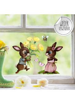 Fensterbild Hase Häschen Hasenpärchen Schmetterlinge wiederverwendbar Fensterdeko Fensterbilder Frühling Deko Dekoration bf120