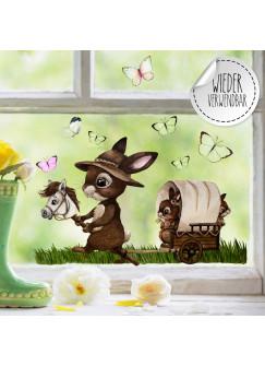 Fensterbild Hase Häschen Kinder Pferdewagen Schmetterlinge wiederverwendbar Fensterdeko Fensterbilder Frühling Deko Dekoration bf121