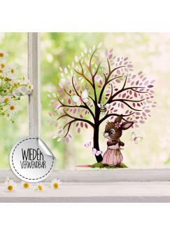 Fensterbild Baum rosa Hase Häschen Schmetterlinge wiederverwendbar Fensterdeko Fensterbilder Frühling Deko Dekoration bf123