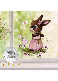 Fensterbild rosa Hase Häschen Schmetterlinge -wiederverwendbar- Fensterdeko Fensterbilder Deko Dekoration bf125