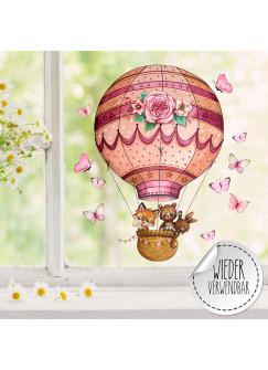 Fensterbild Heißluftballon Fuchs Hase Bär Schmetterlinge wiederverwendbar Fensterdeko Fensterbilder Frühling Deko Dekoration bf126