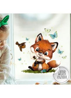Fensterbild Fuchs Füchschen Pusteblume Schmetterlinge wiederverwendbar Fensterdeko Fensterbilder Frühling Deko Dekoration bf127
