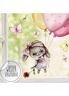 Fensterbild Hase Häschen mit Ballons Schmetterlinge wiederverwendbar Fensterdeko Fensterbilder Frühling Deko Dekoration bf130