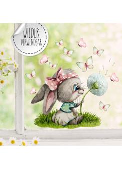 Fensterbild Hase Häschen Pusteblume Schmetterlinge wiederverwendbar Fensterdeko Fensterbilder Frühling Deko Dekoration bf132