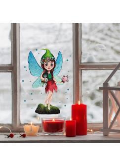 Fensterbild Elfe Fee mit Hummelchen & Schmetterling -WIEDERVERWENDBAR- Fensterdeko Fensterbilder bf2