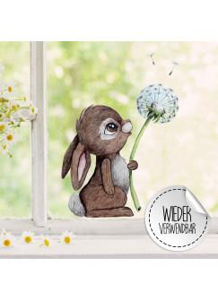 Fensterbild Hase mit Pusteblume -WIEDERVERWENDBAR- Fensterdeko Fensterbilder bf21