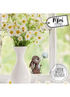 Mini-Fensterbild Hase mit Pusteblume -WIEDERVERWENDBAR- Fensterdeko Frühlingsdeko Mini-Fensterbilder Gr.6cm x 9cm Osterdeko Ostern bf21mini