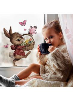 Fensterbild Hase mit Osterkorb & Schmetterlinge -WIEDERVERWENDBAR- Fensterdeko Fensterbilder bf22