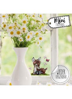Mini-Fensterbild Reh mit Waschbär & Schmetterlinge -WIEDERVERWENDBAR- Mini-Fensterbilder Gr.10cm x 8cm Fensterdeko Frühlingsdeko bf23mini