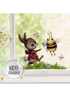 Fensterbild Hase mit Biene & Schmetterlinge -WIEDERVERWENDBAR- Fensterdeko Fensterbilder bf24