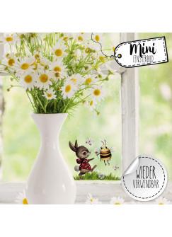 Mini-Fensterbild Hase mit Biene & Schmetterlinge -WIEDERVERWENDBAR- Mini-Fensterbilder Gr.11cm x 9cm Fensterdeko Frühlingsdeko bf24mini