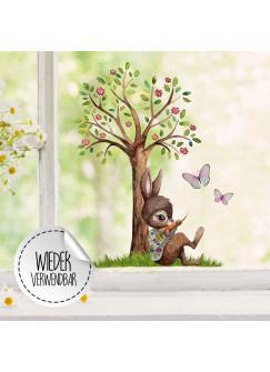 Fensterbild Hase mit Baum & Schmetterlinge -WIEDERVERWENDBAR- Fensterdeko Fensterbilder bf25
