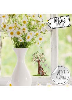 Mini-Fensterbild Hase mit Baum & Schmetterlinge -WIEDERVERWENDBAR- Mini-Fensterbilder Gr.7cm x 10cm Fensterdeko Frühlingsdeko bf25mini