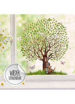 Fensterbild Hase mit großen Baum & Schmetterlinge -WIEDERVERWENDBAR- Fensterdeko Fensterbilder Frühlingsdeko Ostern Osterdeko bf26